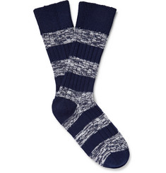 The Workers Club Striped Mélange Merino Wool-Blend Socks