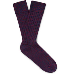 The Workers Club Mélange Merino Wool-Blend Socks