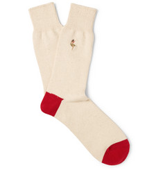 Anonymous Ism - Embroidered Cotton-Blend Socks