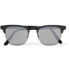 Illesteva Cordova Square-Frame Metal Mirrored Sunglasses