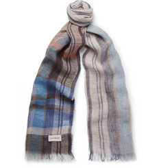 Oliver Spencer Gela Checked Linen Scarf