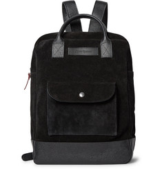 Oliver Spencer Pebble Grain Leather-Trimmed Suede Backpack