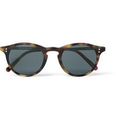 Oliver Spencer William Round-Frame Tortoiseshell Acetate and Silver-Tone Sunglasses