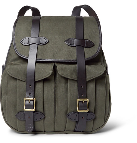 Leather-trimmed Twill Backpack - Green