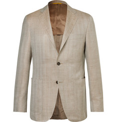 Canali Beige Kei Slim-Fit Herringbone Wool, Silk and Linen-Blend Blazer