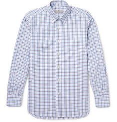 Canali Slim-Fit Button-Down Collar Checked Cotton Shirt