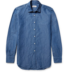 Canali Slim-Fit Slub Cotton and Linen-Blend Shirt