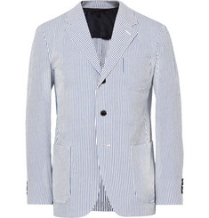 Camoshita - Blue Slim-Fit Striped Cotton and Silk-Blend Seersucker Blazer