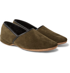 Derek Rose - Crawford Shearling-Lined Suede Slippers