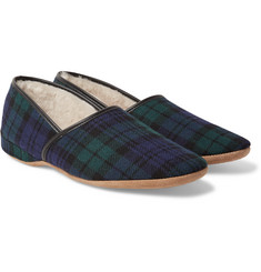 Derek Rose - Crawford Shearling-Lined Checked Wool-Flannel Slippers