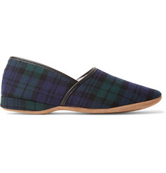 Derek Rose Crawford Shearling-Lined Checked Wool-Flannel Slippers