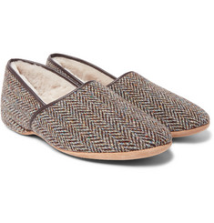 Derek Rose - Crawford Shearling-Lined Harris Tweed Slippers