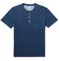 Faherty Slim-Fit Indigo-Dyed Cotton-Jersey Henley T-Shirt