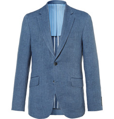 Hackett Blue Delave Slim-Fit Herringbone Linen Blazer