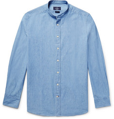 Hackett Slim-Fit Grandad-Collar Cotton-Chambray Shirt
