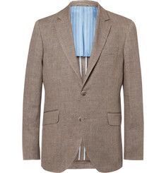 Hackett Brown Delave Slim-Fit Herringbone Linen Blazer