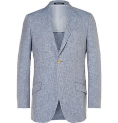 Richard James Blue Slim-Fit Mélange Linen Blazer