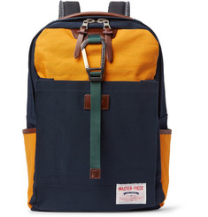 Master-Piece Link Leather-Trimmed Colour-Block Nylon Backpack