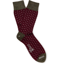 Kingsman + Corgi Polka-Dot Wool-Blend Socks