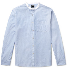 Todd Snyder Slim-Fit Grandad-Collar Striped Cotton and Linen-Blend Shirt