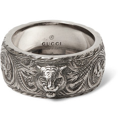 Gucci - Tiger-Embellished Burnished Sterling Silver Ring