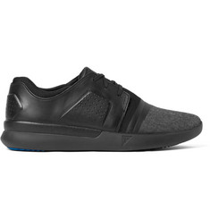 Under Armour Sportswear Run Fit Leather, Canvas and Stretch-Jersey Sneakers