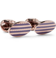 Kingsman + Deakin & Francis Rose Gold-Plated Sterling Silver and Enamel Cufflinks
