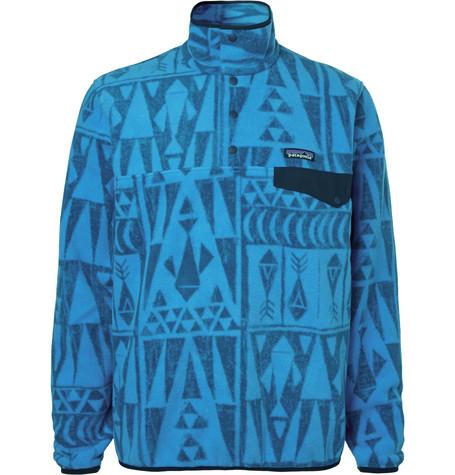 Patagonia Snap-T Printed Synchilla Fleece Sweatshirt In Blue