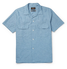 Beams Plus Camp-Collar Cotton and Hemp-Blend Chambray Shirt