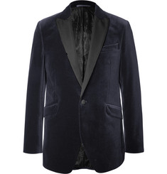 Favourbrook Blue Slim-Fit Faille-Trimmed Cotton-Velvet Tuxedo Jacket