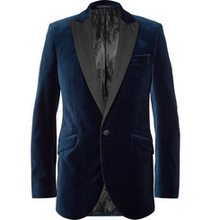 Favourbrook Blue Faille-Trimmed Cotton-Velvet Tuxedo Jacket
