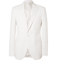 Favourbrook White Theobold Slim-Fit Herringbone Cotton Tuxedo Jacket