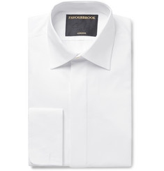 Favourbrook White Bib-Front Double-Cuff Cotton Tuxedo Shirt