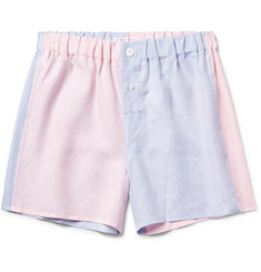 Emma Willis Two-Tone Slub Linen Boxer Shorts