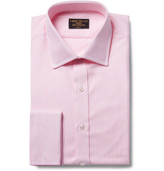 Emma Willis Pink Slim-Fit Bengal-Striped Cotton Oxford Shirt