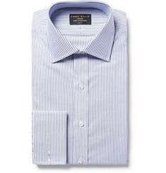Emma Willis Blue Slim-Fit Bengal-Striped Cotton Oxford Shirt