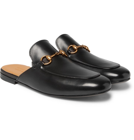 gucci male gucci horsebit leather backless loafers black