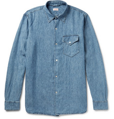 Arpenteur Washed Linen and Cotton-Blend Chambray Shirt