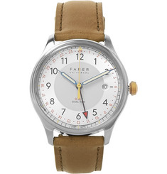Farer Carter Stainless Steel and Leather Watch