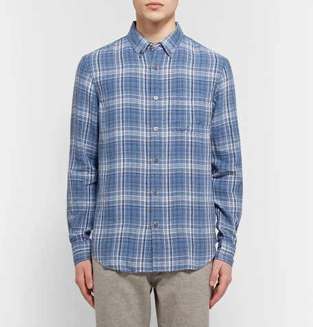CLUB MONACO Slim-Fit Button-Down Collar Checked Linen Shirt