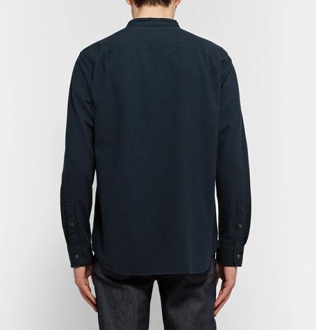 CLUB MONACO Slim-Fit Grandad-Collar Cotton-Seersucker Shirt in Navy/Navy