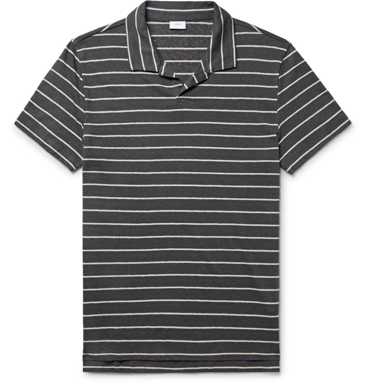 Onia Shaun Slim Fit Striped Knitted Slub Linen Blend Polo Shirt