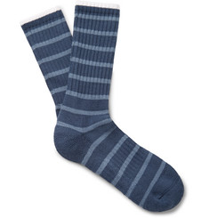 Norse Projects - Bjarki Striped Ribbed Loopback Cotton-Blend Socks