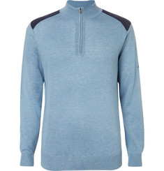 Dunhill Links - Two-Tone Silk, Wool and Cashmere-Blend Half-Zip Sweater