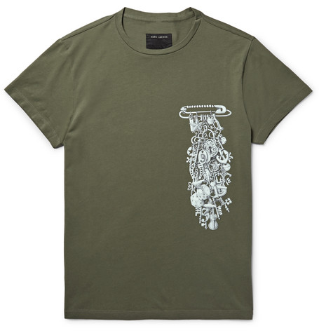 marc jacobs male 227438 marc jacobs slimfit printed cottonjersey tshirt army green