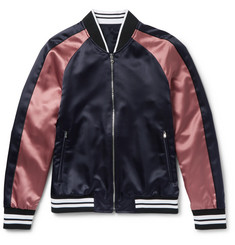 Solid Homme Slim-Fit Appliquéd Satin Bomber Jacket