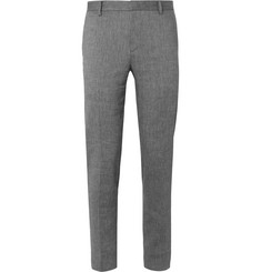 Solid Homme Grey Linen-Blend Hopsack Suit Trousers