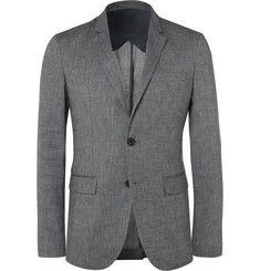 Solid Homme Grey Linen-Blend Hopsack Suit Jacket