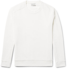 Solid Homme Waffle Knit-Panelled Stretch-Cotton Sweatshirt