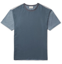 Solid Homme Slim-Fit Colour-Block Twill and Jersey T-Shirt
